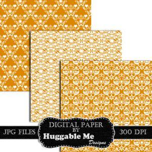 Digital Scrapbook Paper, Gold Damas..