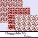 Burgundy Damask Digital Scrapbookin..