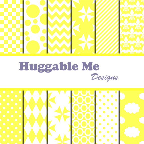 Yellow Scrapbook Paper Yellow White Digital Papers For Wedding