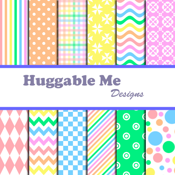 Rainbow Scrapbook Paper - Polka Dots, Chevron, Stripes,Multi-color ...