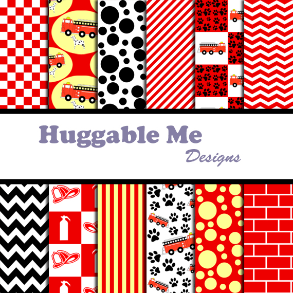 Fire Truck Digital Papers Fireman Scrapbook Paper For Invitation