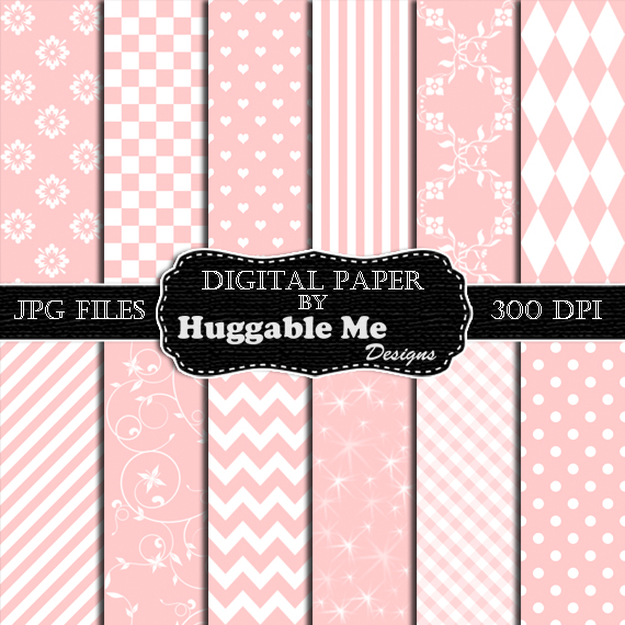 Digital Download Light Pink Pattern Paper for Wedding, Scrapbook, Backgrounds, Cards 12x12 - HMD00099