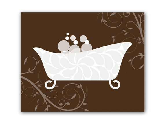 DIGITAL DOWNLOAD - Bathroom Wall Art, Brown Bathroom Decor, INSTANT DOWNLOAD, Bathtub Art, Home Decor, Home Wall Decor - BATH46