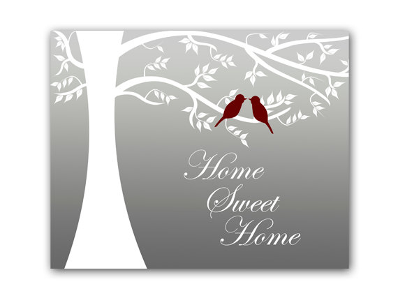 DIGITAL DOWNLOAD - Home Decor Art, INSTANT DOWNLOAD, Tree Silhouette Decor, Printable Modern Bedroom Decor, Love Bird Art Print, Home Sweet Home - HOME53