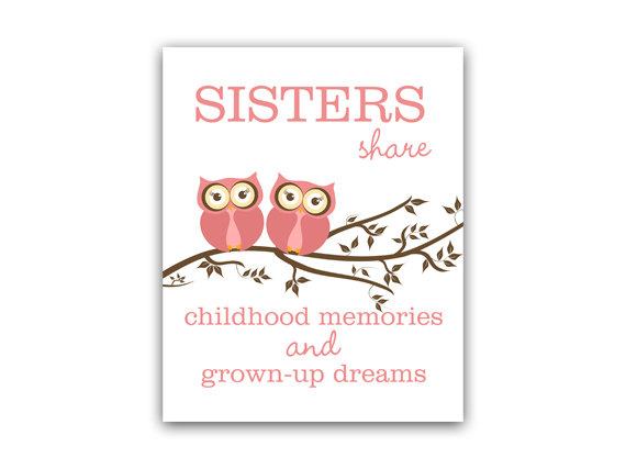 DIGITAL DOWNLOAD - Sisters Quote Art, INSTANT DOWNLOAD Sisters Wall Art, Owl Nursery Decor, Twins Art - KIDS116