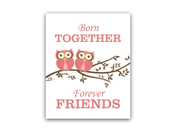 DIGITAL DOWNLOAD - Sisters Quote Art, INSTANT DOWNLOAD Sisters Wall Art, Owl Nursery Decor, Twins Art - KIDS114