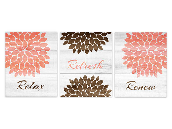 Digital Download Brown And Coral Bathroom Wall Art Instant Download Relax Refresh Renew Coral An On Luulla