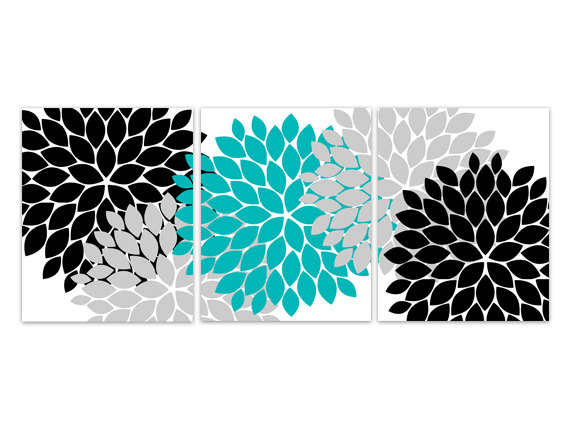 DIGITAL DOWNLOAD - Home Decor Wall Art, INSTANT DOWNLOAD Turquoise and Black Flower Burst Art, Bathroom Wall Decor, Turquoise Bedroom Decor - HOME98