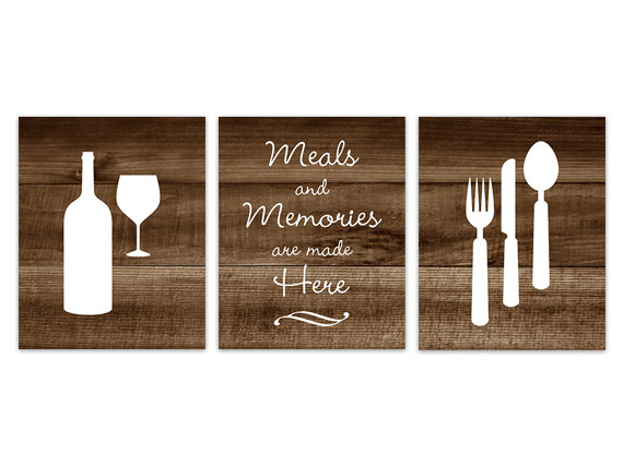 DIGITAL DOWNLOAD - Brown Kitchen Wall Art, INSTANT DOWNLOAD, Fork Spoon Knife Art, Wine Art Print, Dining Room Art, Meals and Memories, Wood Effect - HOME148