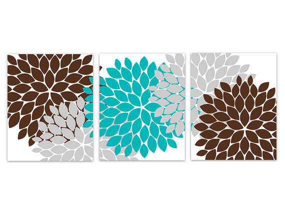 DIGITAL DOWNLOAD - Aqua and Brown Bedroom Decor, Home Decor Wall Art, INSTANT DOWNLOAD Aqua Brown and Grey Flower Burst Art, Bathroom Wall Decor - HOME133
