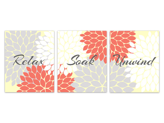 DIGITAL DOWNLOAD - Coral Yellow and Grey Bathroom Decor, Relax Soak Unwind, Instant Download Bathroom Art, Printable Modern Bathroom Decor - BATH93