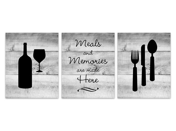 DIGITAL DOWNLOAD - Black Kitchen Wall Art, INSTANT DOWNLOAD, Fork Spoon Knife Art, Wine Art Print, Dining Room Art, Meals and Memories, Wood Effect - HOME144