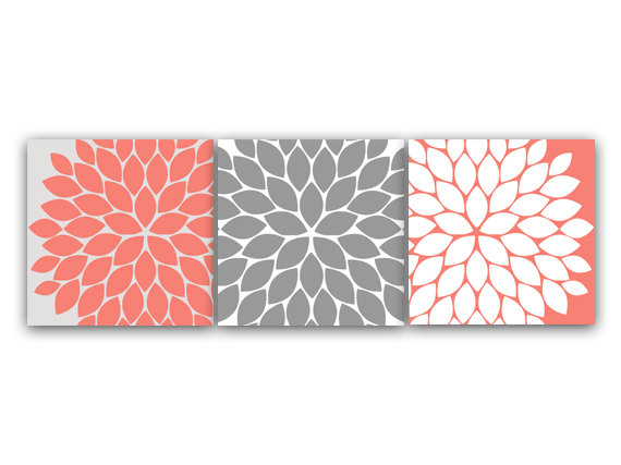 DIGITAL DOWNLOAD - Home Decor Wall Art, INSTANT DOWNLOAD Coral and Grey Flower Burst Art, Bathroom Wall Decor, Coral Bedroom Decor, Nursery Wall Art - HOME65