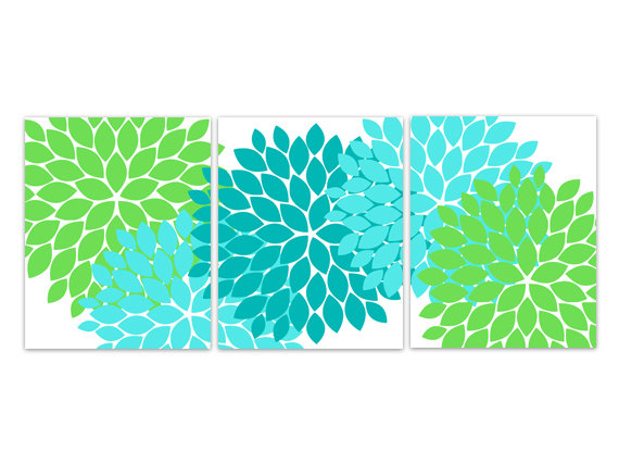 DIGITAL DOWNLOAD - Home Decor Wall Art, INSTANT DOWNLOAD Aqua and Green Flower Burst Art, Bathroom Wall Decor, Turquoise Green Bedroom Decor - HOME106