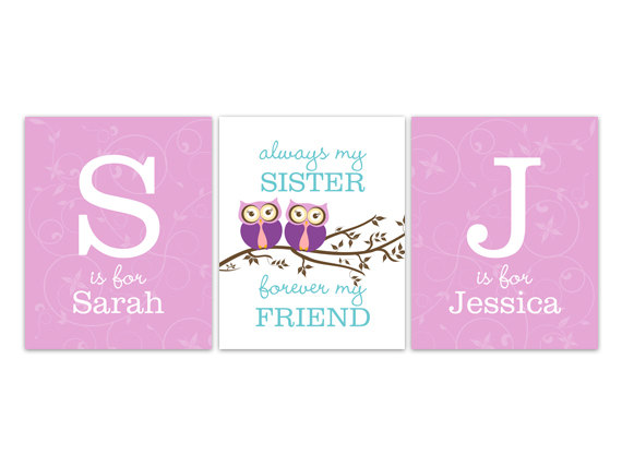 DIGITAL DOWNLOAD - Sisters Wall Art, Nursery Wall Art, Twins Art, Sister Quote, DIGITAL DOWNLOAD Girls Monogram Art, Girls Room Decor - KIDS158