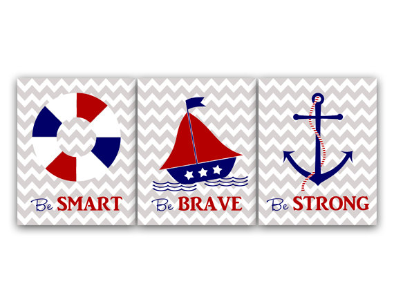 DIGITAL DOWNLOAD - Printable Nursery Wall Art, Nautical Nursery Decor, Sailboat Nursery, Anchor Decor, Be Strong Be Brave, Instant Download - KIDS33