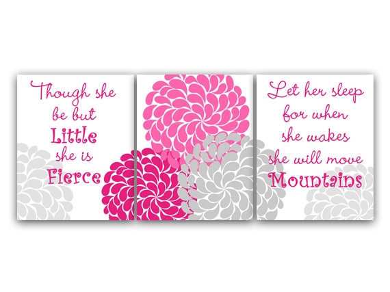 DIGITAL DOWNLOAD - Nursery Wall Art, INSTANT DOWNLOAD Nursery Quote Print, Let Her Sleep, She Will Move Mountains, She Is Fierce, Nursery Wall Decor - KIDS77