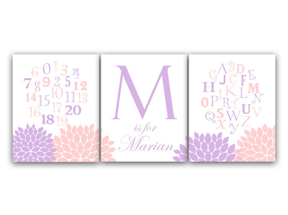 DIGITAL DOWNLOAD - Alphabet Art, Pink and Lavender Nursery Wall Art, DIGITAL DOWNLOAD Nursery Print, Personalized Kids Wall Art, Modern Nursery Art - KIDS123