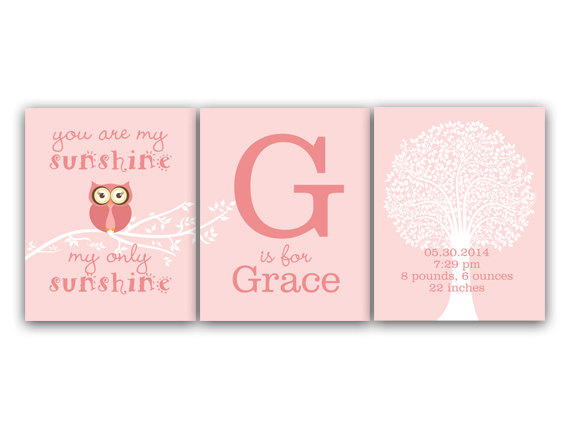 DIGITAL DOWNLOAD - Birth Stats Wall Art You Are My Sunshine DIGITAL DOWNLOAD Pink Nursery Decor Girls Monogram Art Set of 3 Nursery Print - KIDS118