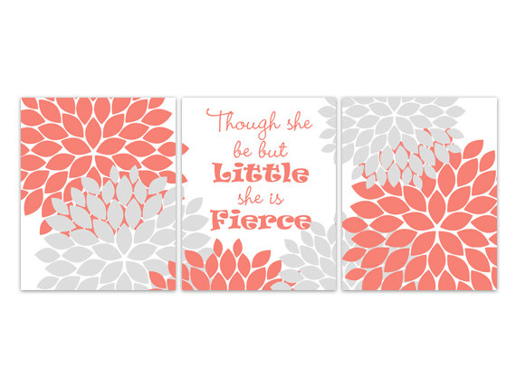 DIGITAL DOWNLOAD - Nursery Art Print, Coral and Gray Nursery Decor, INSTANT DOWNLOAD, Though She Be But Little She Is Fierce, Kids Art Print - KIDS166