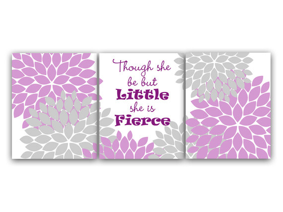 DIGITAL DOWNLOAD - Nursery Art Print, Lavender and Gray Nursery Decor, INSTANT DOWNLOAD, Though She Be But Little She Is Fierce, Kids Art Print - KIDS55
