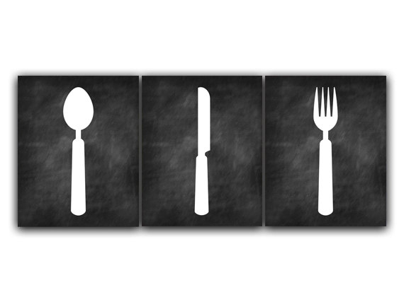 Digital Download Chalkboard Kitchen Art Fork Spoon Knife Art Instant Download Home Decor Wall Ar On Luulla