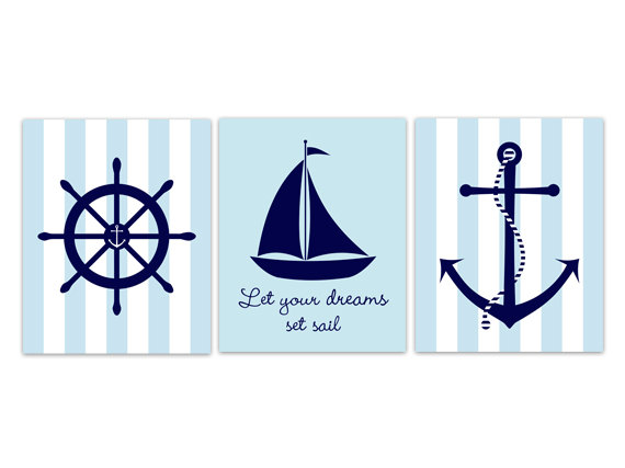 Digital Nautical Nursery Wall Art Sailboat
