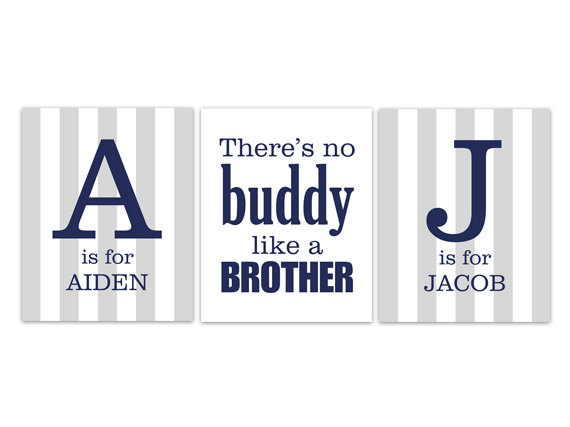 DIGITAL DOWNLOAD - Brothers Wall Art, Personalized Kids Name Art, DIGITAL DOWNLOAD Wall Art, Brother Quote Print, Digital Download - KIDS180