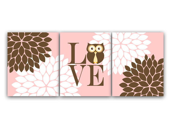 DIGITAL DOWNLOAD - Nursery Wall Art, Instant DOWNLOAD Owl Bedding Nursery Decor, Pink Baby Girl Nursery Decor LOVE Nursery Print, Girl Room Decor - KIDS125