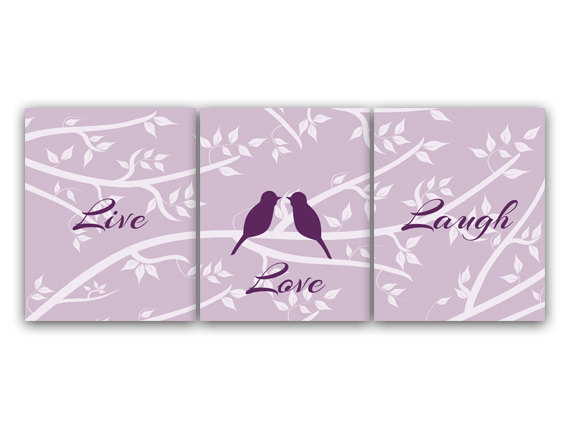 DIGITAL DOWNLOAD - Purple Bedroom Decor Live Love Laugh Home Decor Art INSTANT DOWNLOAD Love Bird Art Bathroom Wall Art Set of 3 Art Print - HOME75