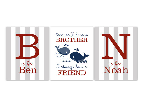 DIGITAL DOWNLOAD - Brothers Wall Art, DIGITAL DOWNLOAD Boys Monogram ...