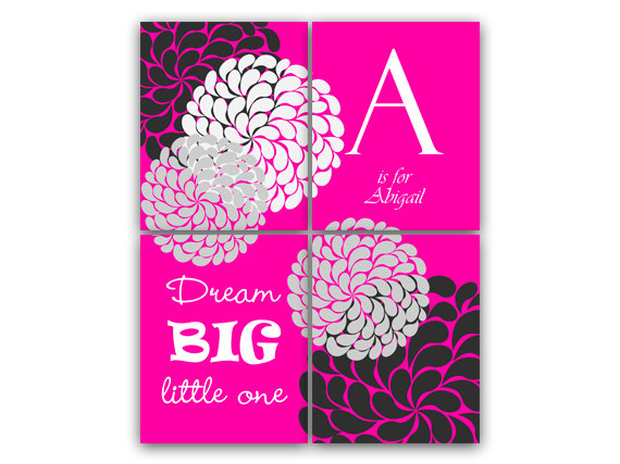 DIGITAL DOWNLOAD - Nursery Wall Art, Dream Big Little One, Printable Wall Art, Hot Pink Flower Burst Artwork, Kids Wall Art, Modern Nursery Art - KIDS19