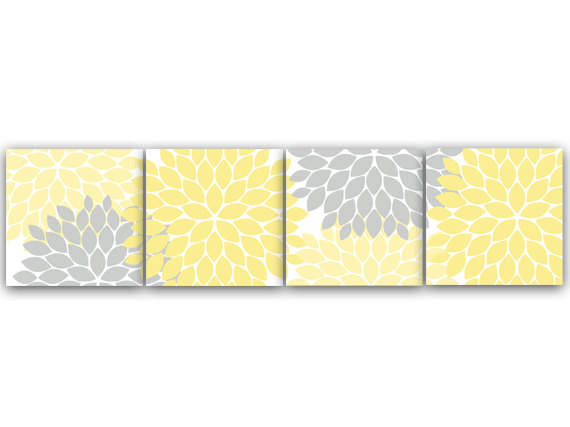 DIGITAL DOWNLOAD - Home Decor Wall Art, INSTANT DOWNLOAD Yellow and Grey Flower Burst Art, Bathroom Wall Decor, Yellow Bedroom Decor, Nursery Wall Art - HOME59