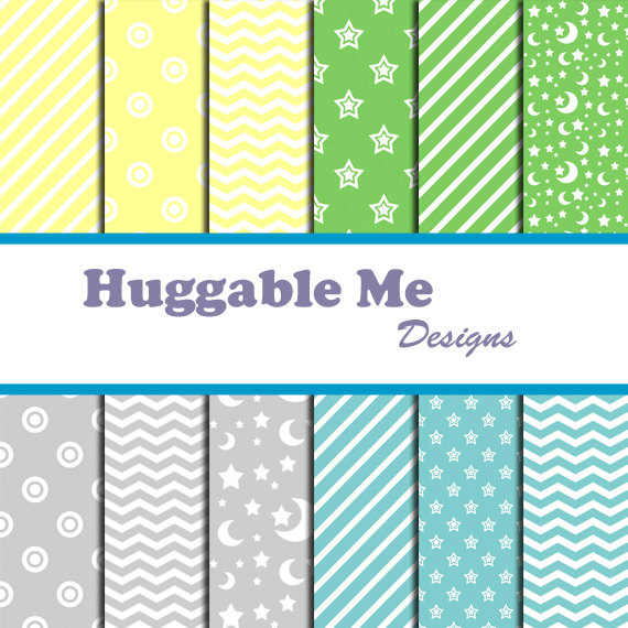 Digital Scrapbooking Paper Pastel Blue Green Yellow Gray Chevron