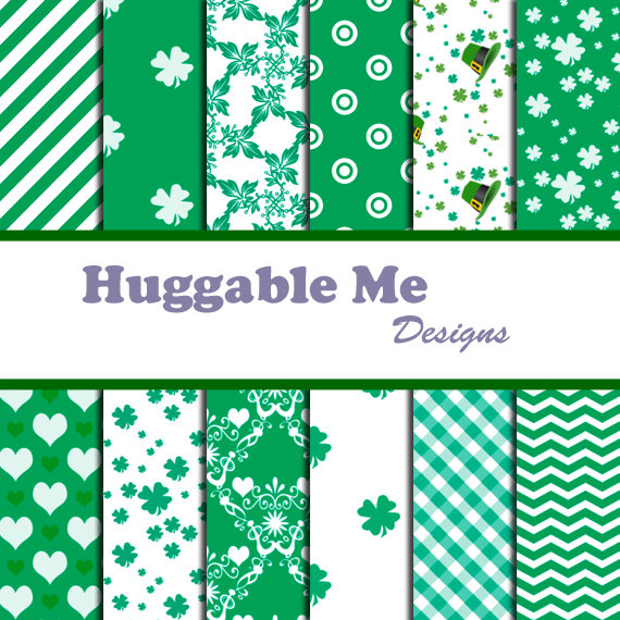Digital Scrapbooking Paper Saint Patrick's Day Green and White Shamrock Paper Chevron for Scrapbook Backgrounds 12x12 - HMD00043