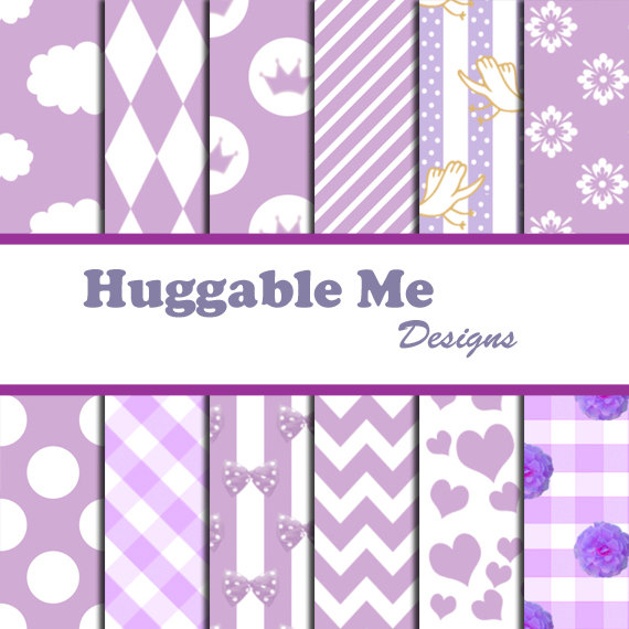 Digital Scrapbooking Paper Lavender Hearts Polka Dots Stripes Floral Chevron Paper for Baby Girl Scrapbook Invitation Cards 12x12 - HMD00048