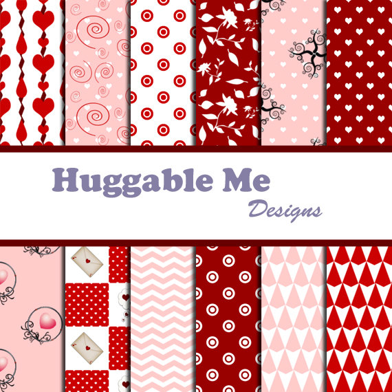 Digital Scrapbooking Paper Red White Valentine Paper for Wedding Scrapbook Backgrounds 12x12 - HMD00032