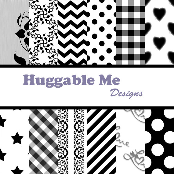 Digital Scrapbooking Paper Black and White Dots Chevron Stripes Stars Damask Digital Backgrounds 12x12 - HMD00012