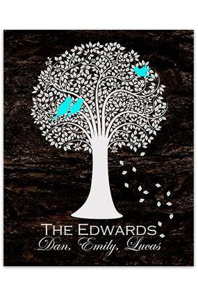 DIGITAL DOWNLOAD - Love Birds Art, Custom Family Tree Art Print, DIGITAL DOWNLOAD, Tree Silhouette Art, Wedding Gift, Brown Home Decor - HOME143