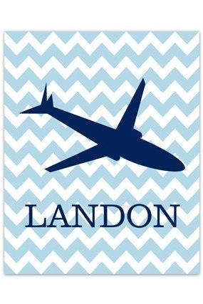 DIGITAL DOWNLOAD - Airplane Nursery Kids Name Art, Personalized Kids Wall Art, DIGITAL DOWNLOAD Wall Art, Boys Room Decor, Plane Nursery Art - KIDS170