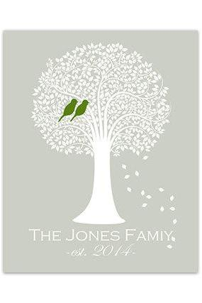 DIGITAL DOWNLOAD - DIGITAL DOWNLOAD, Custom Family Tree Art Print, Seafoam Tree Silhouette Art, Love Birds Art, Wedding Gift, Home Decor - HOME120