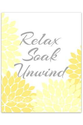 DIGITAL DOWNLOAD - Relax Soak Unwind Bathroom Wall Art, INSTANT DOWNLOAD Bath Art, Printable Modern Bathroom Decor, Yellow Bathroom Decor - BATH86