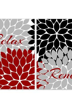 DIGITAL DOWNLOAD - Bathroom Wall Art, INSTANT DOWNLOAD Bath Art, Modern Bathroom Decor, Relax Renew Red Grey Black Bathroom Decor - BATH65