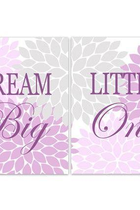 DIGITAL DOWNLOAD - Dream Big Little One, Nursery Quote Art, INSTANT DOWNLOAD Nursery Wall Decor, Lavender Nursery Decor, Girls Room Art - KIDS135