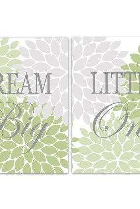 DIGITAL DOWNLOAD - Nursery Quote Art, Dream Big Little One, INSTANT DOWNLOAD Nursery Wall Decor, Sage Grey Nursery Decor, Girls Room Art - KIDS140