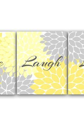 DIGITAL DOWNLOAD - Live Laugh Love, INSTANT DOWNLOAD Bath Art, Bedroom Wall Art, Printable Modern Bedroom Wall Decor, Yellow and Grey Bedroom Decor - HOME54