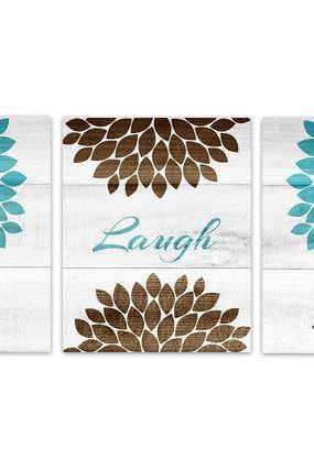 DIGITAL DOWNLOAD - Teal and Brown Bedroom Wall Art, INSTANT DOWNLOAD Bathroom Art, Live Laugh Love, Aqua Wood Effect Wall Art, Flower Burst Artwork - HOME155