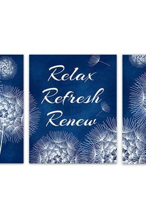 DIGITAL DOWNLOAD - Blue Bathroom Wall Art, Dandelion Bathroom, INSTANT DOWNLOAD Relax Refresh Renew, Navy Bathroom Decor, Dandelion Wall Art - BATH122