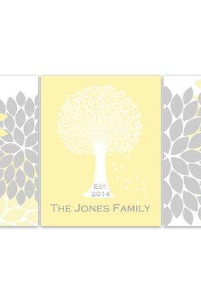 DIGITAL DOWNLOAD - Home Decor Wall Art, DIGITAL DOWNLOAD Custom Family Tree Established Print, Yellow Grey Home Decor, Wedding Gift- HOME82
