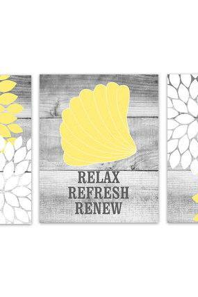 DIGITAL DOWNLOAD - Yellow and White Bathroom Decor, Relax Refresh Renew, INSTANT DOWNLOAD Bath Art, Printable Modern Bathroom Decor - BATH104